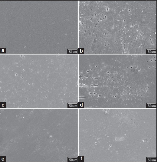 Figure 1: Scanning electron microscopy (SEM) photomicrographs of nanohybrid resin composite (×300): (a) Before immersion (b) after immersion in apple cider (c) orange juice (d) Coca-Cola, (d) coffee, and (e) beer