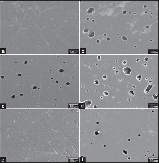 Figure 2: SEM photomicrographs of giomer (×300): (a) Before immersion (b) after immersion in apple cider (c) orange juice (d) Coca-Cola (d) coffee, and (e) beer